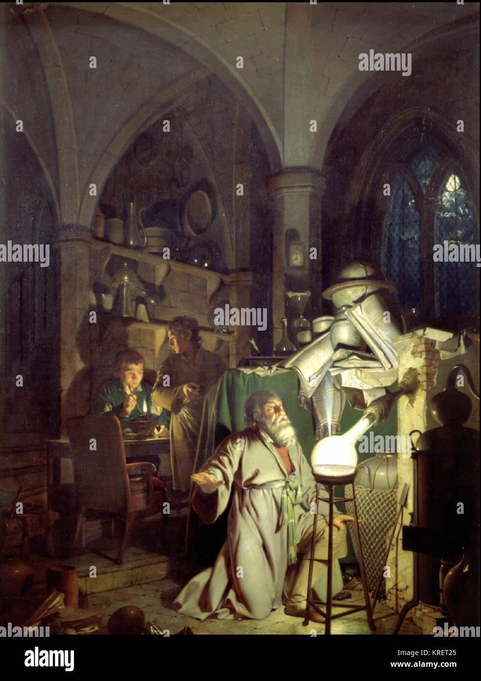 The Alchemist Discovering Phosphorus - Stock Image