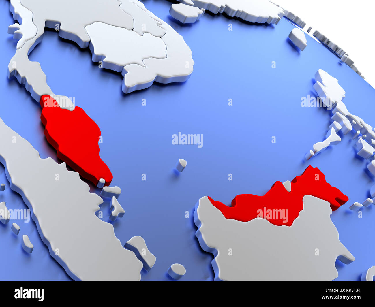 Malaysia on world map Stock Photo: 169356632 - Alamy