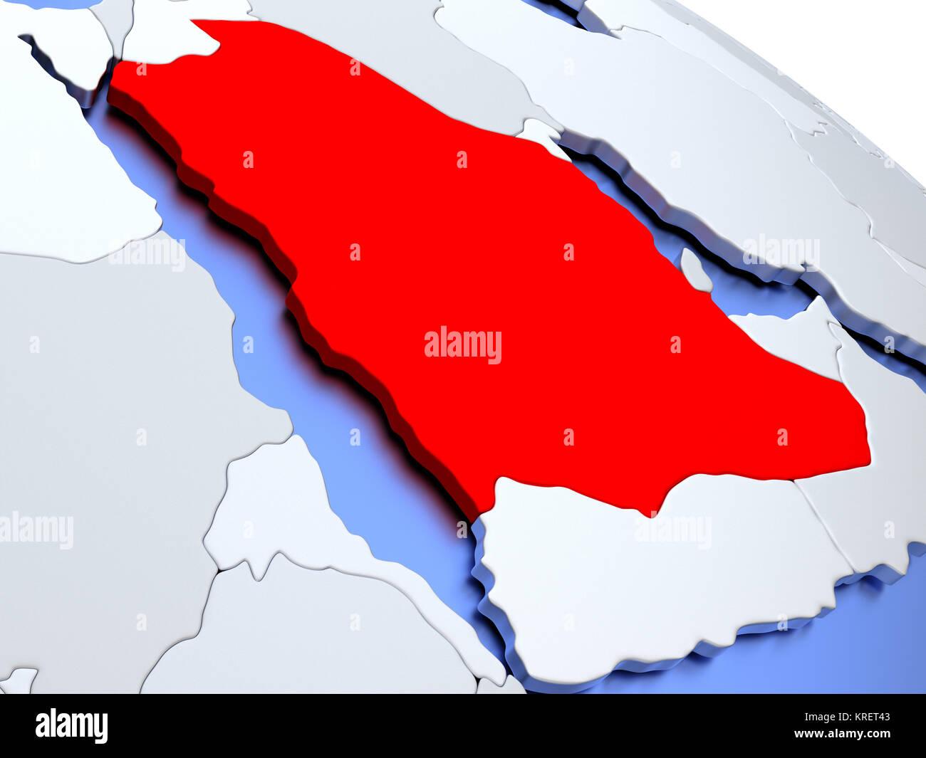 Saudi Arabia on world map Stock Photo: 169356659 - Alamy