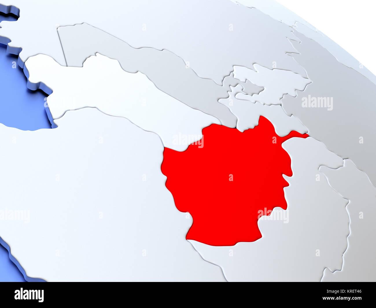 Afghanistan on world map Stock Photo: 169356662 - Alamy