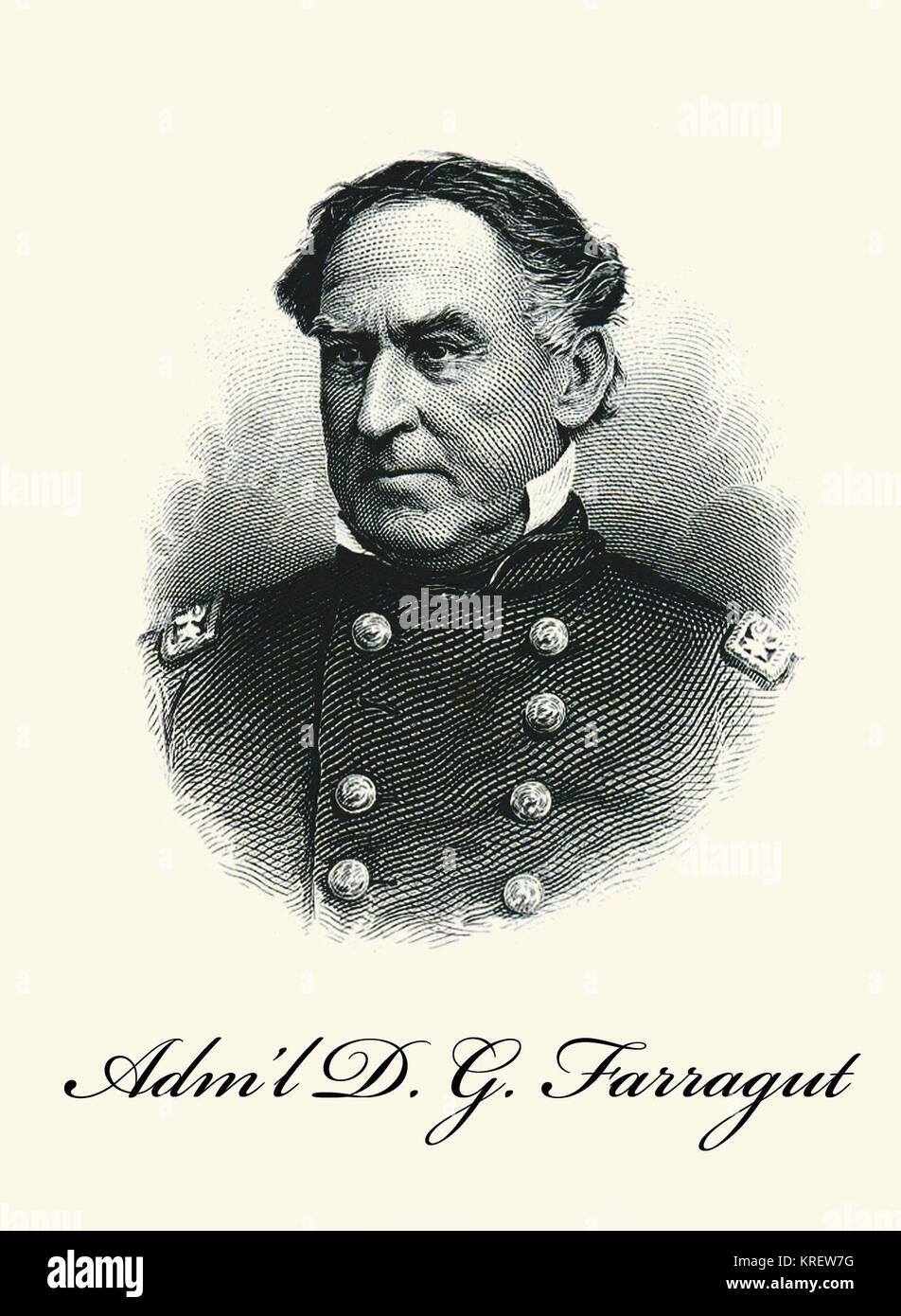 Adm. D.G. Farragut Engraved Portrait Card Stock Photo