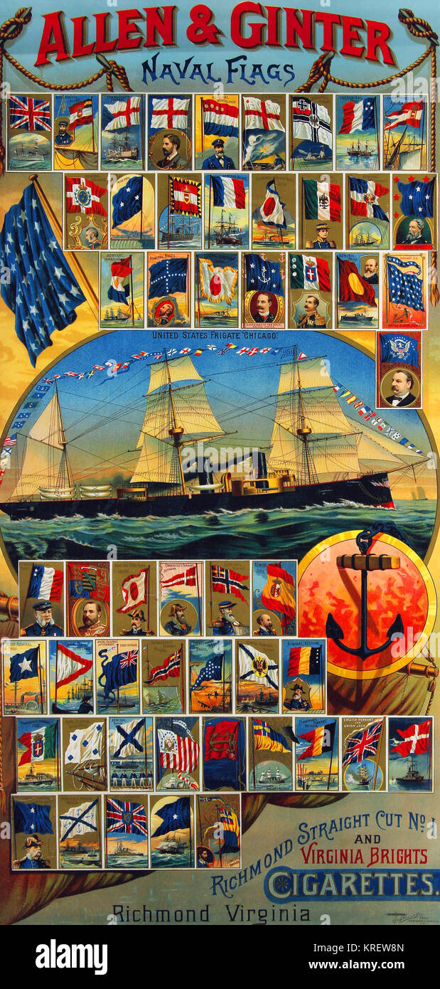Allen & Ginter Naval Flags - Stock Image