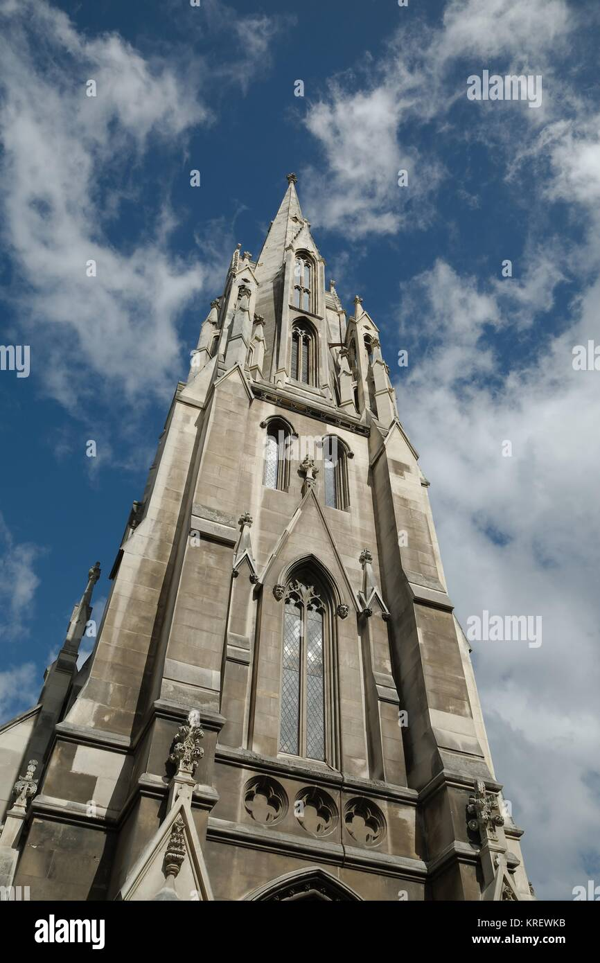 Church tower, blue sky - Stock Image