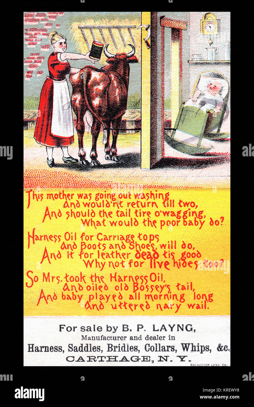 Victorian trade card for Harness Oil.  The oil is said to be good for all leather goods like boots and carriage - Stock Image