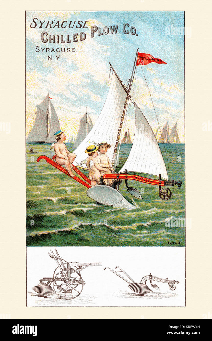 'Victorian trade card for the Syracuse Chilled Plow Company.  The images of the ploughs are below.  The scene, - Stock Image