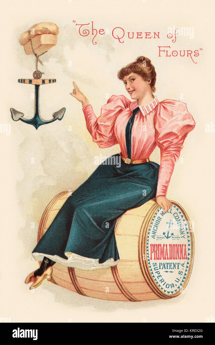 'Victorian trade card for Primadonna flour. ''The Queen of Flours.''  A woman sits on a flour - Stock Image