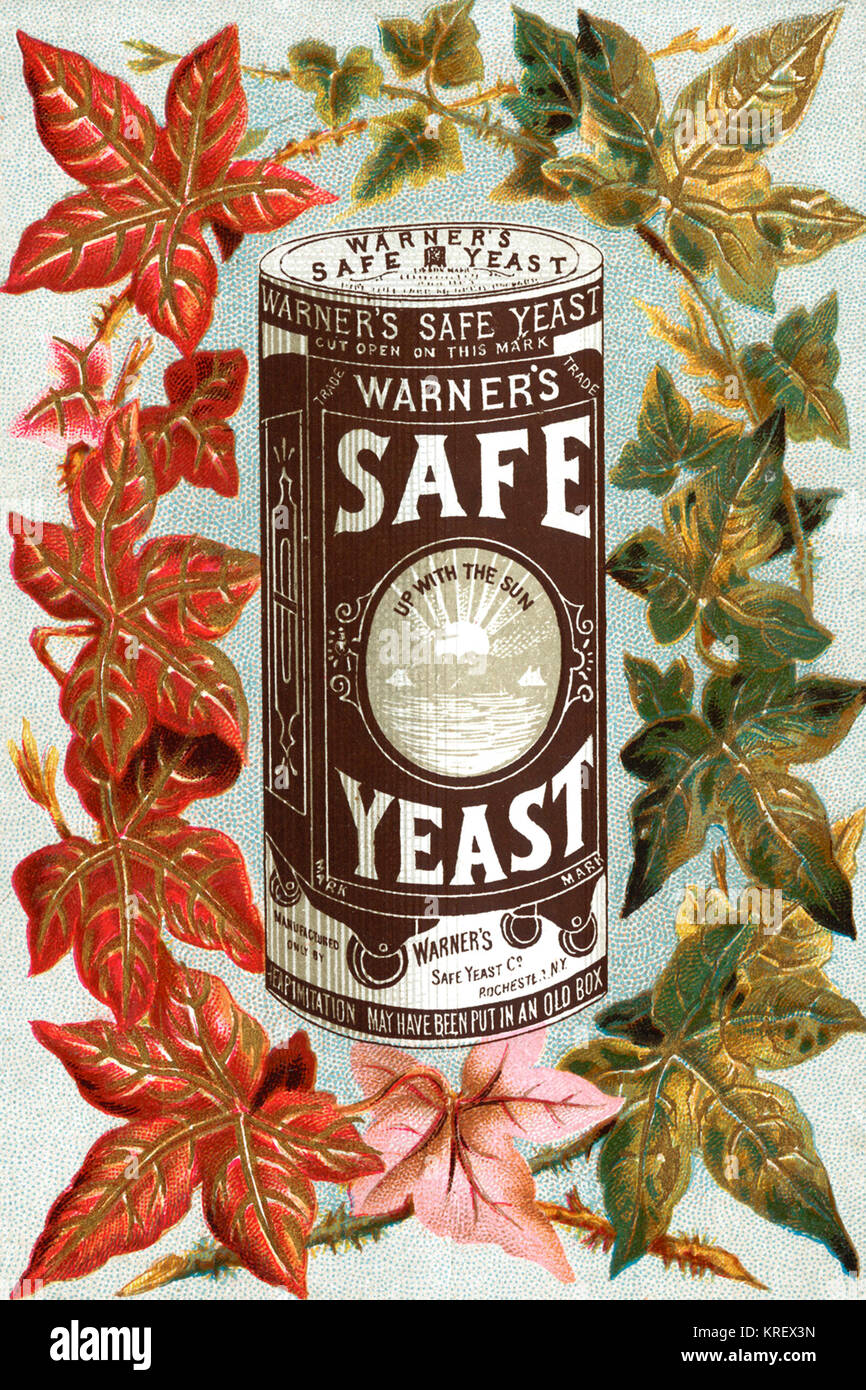 'Victorian trade card for Warner's safe yeast.  ''Up with the Sun'' is the slogan on the - Stock Image