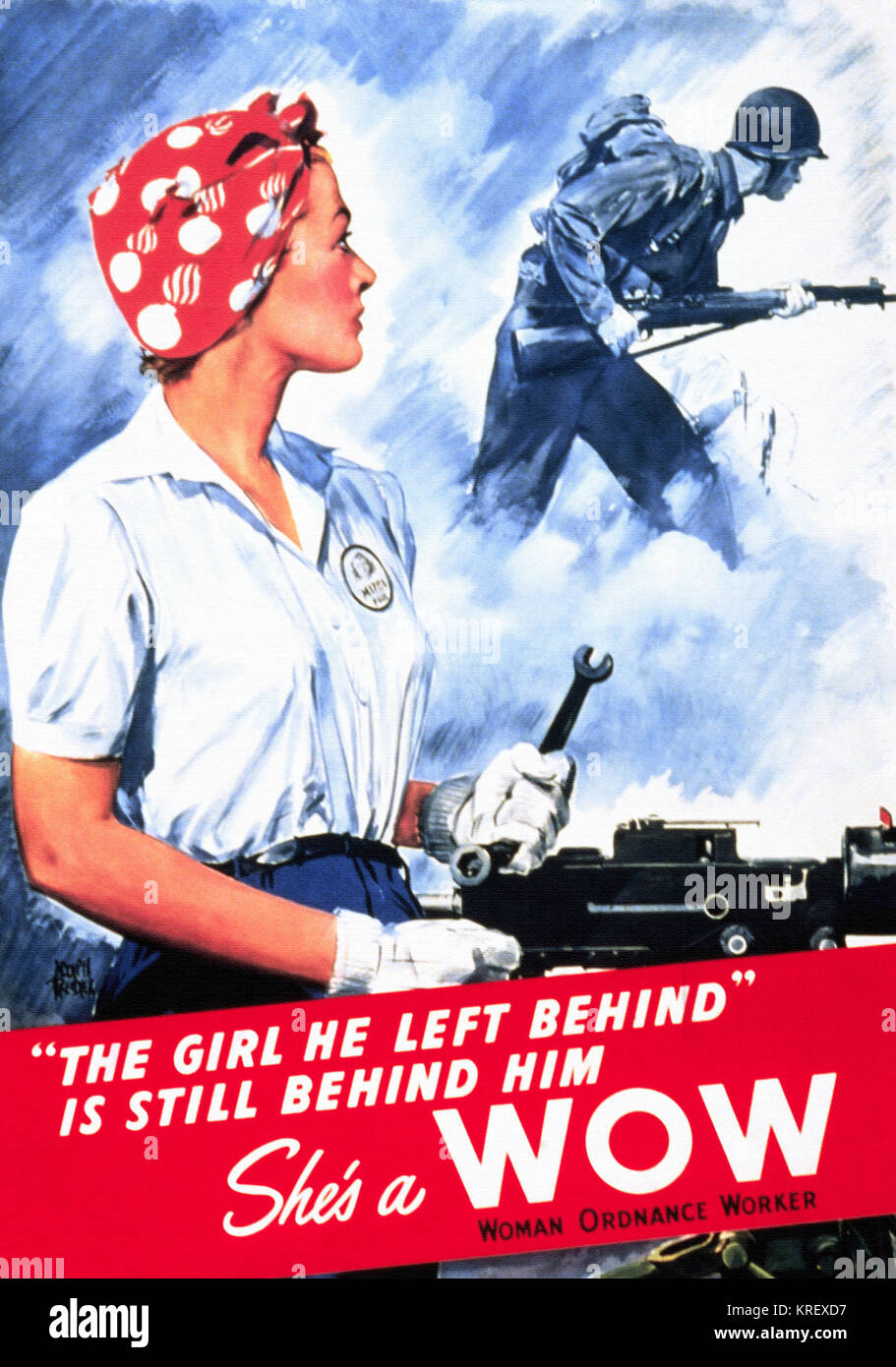 The Girl he left behind is still behind him She's a WOW woman ordnance worker - Stock Image