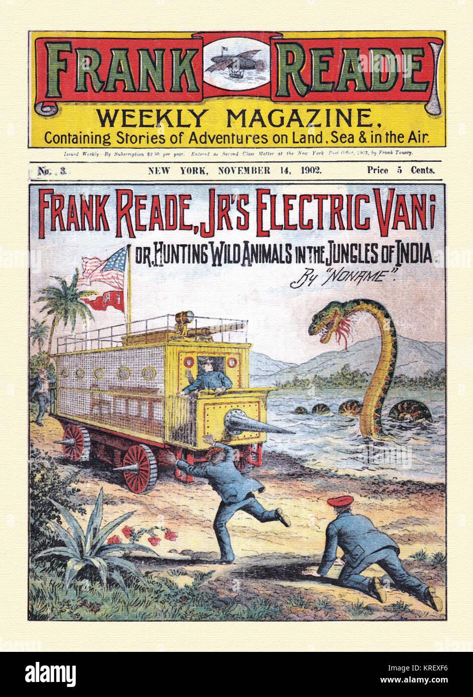 Sea monster dime novel cover - Stock Image