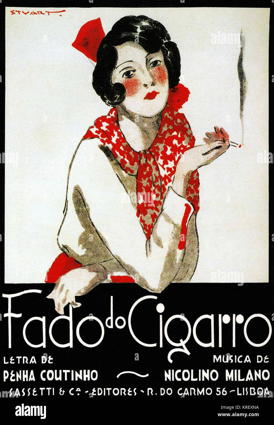 Cigarettes are Doom; Portuguese anti smoking public service - Stock Image