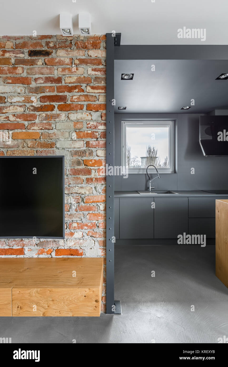 Brick Wall With Entrance To The Kitchen In Loft Apartment Stock Photo Alamy