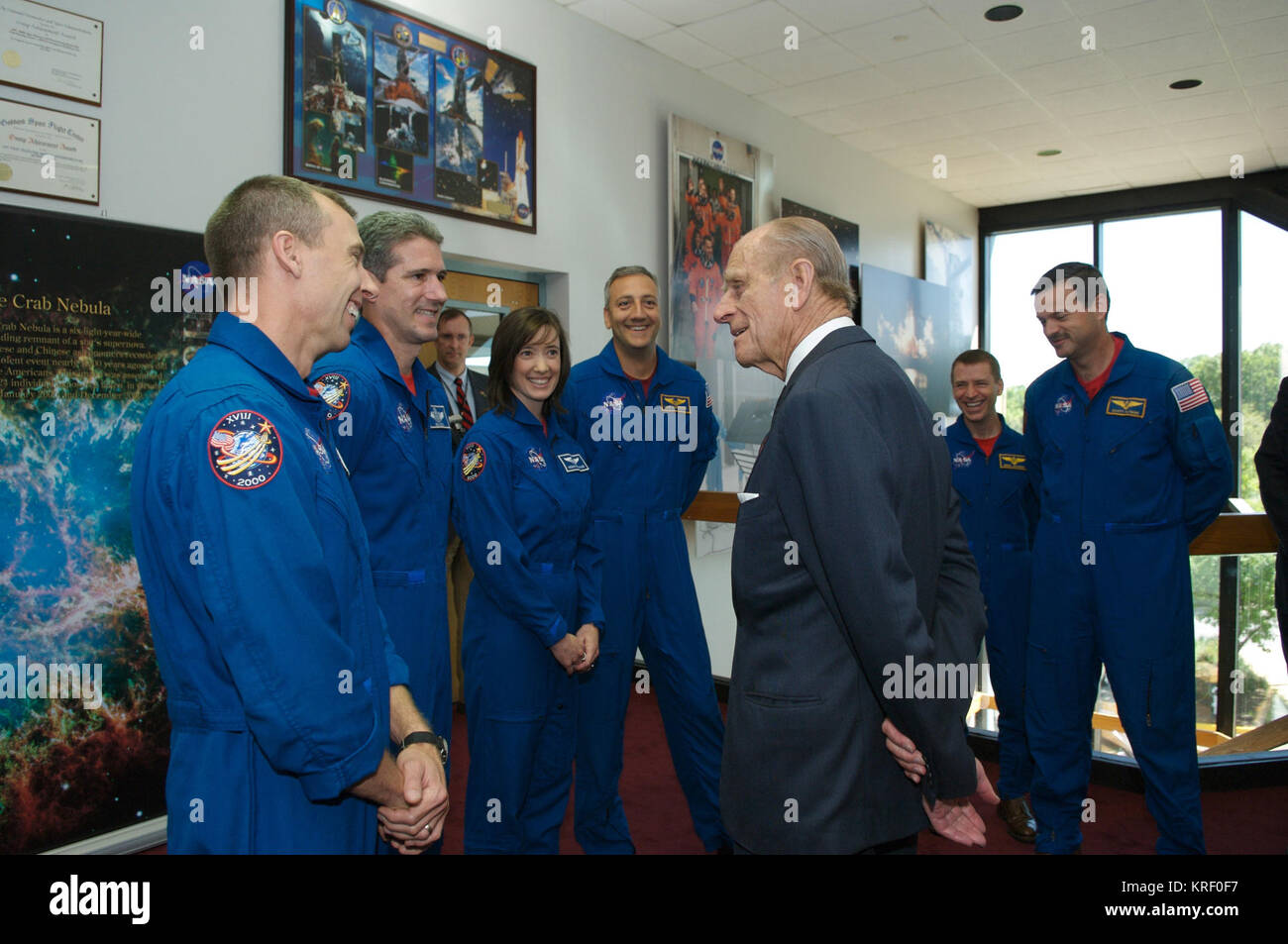 Prince Philip greets astronauts from STS-125 L to R Andrew J Feustel, Michael T Goode, K. Megan McArthur, Michael - Stock Image