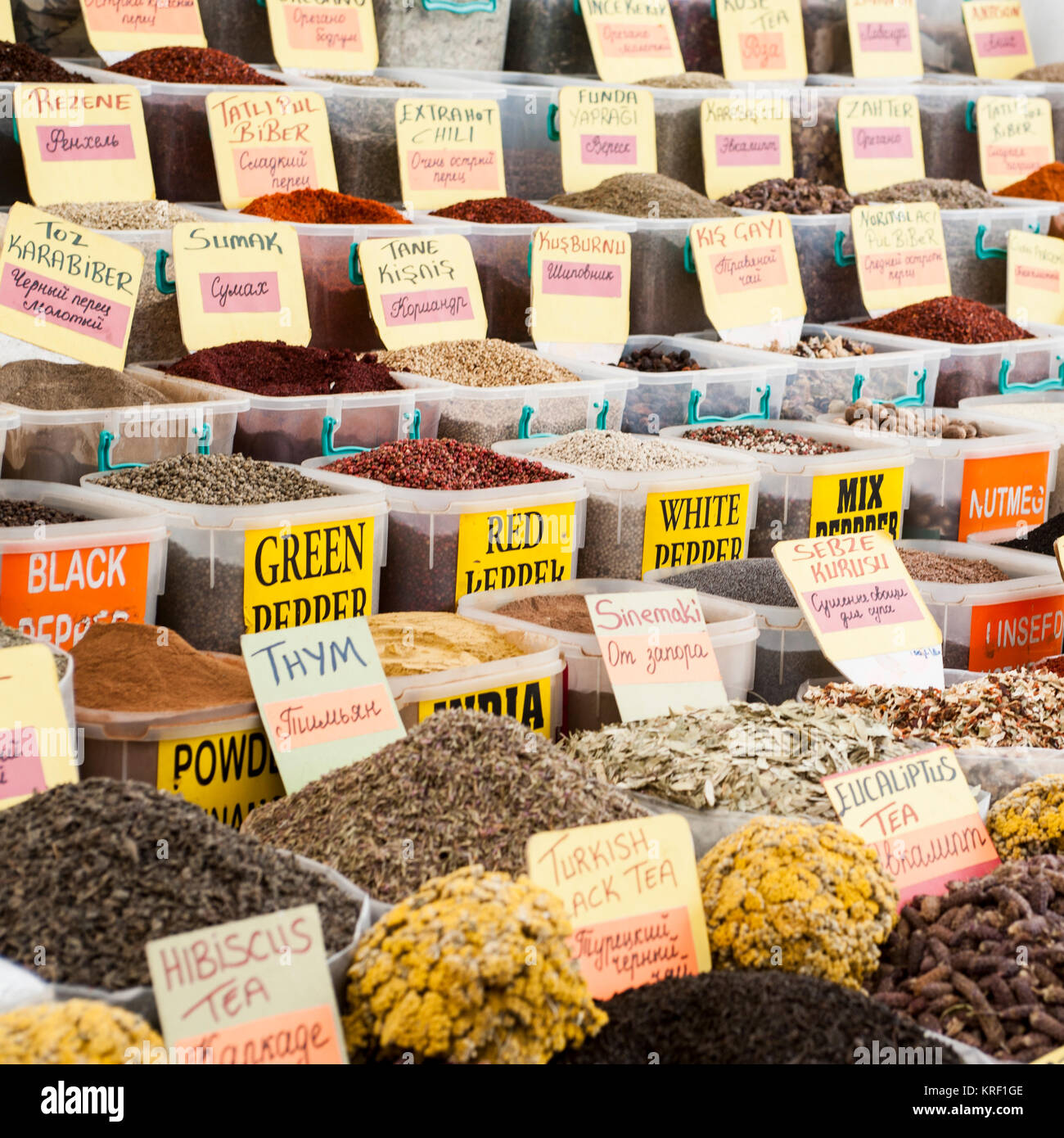 the colors, the aromas and the atmosphere of the Turgutris market in Turkey Stock Photo