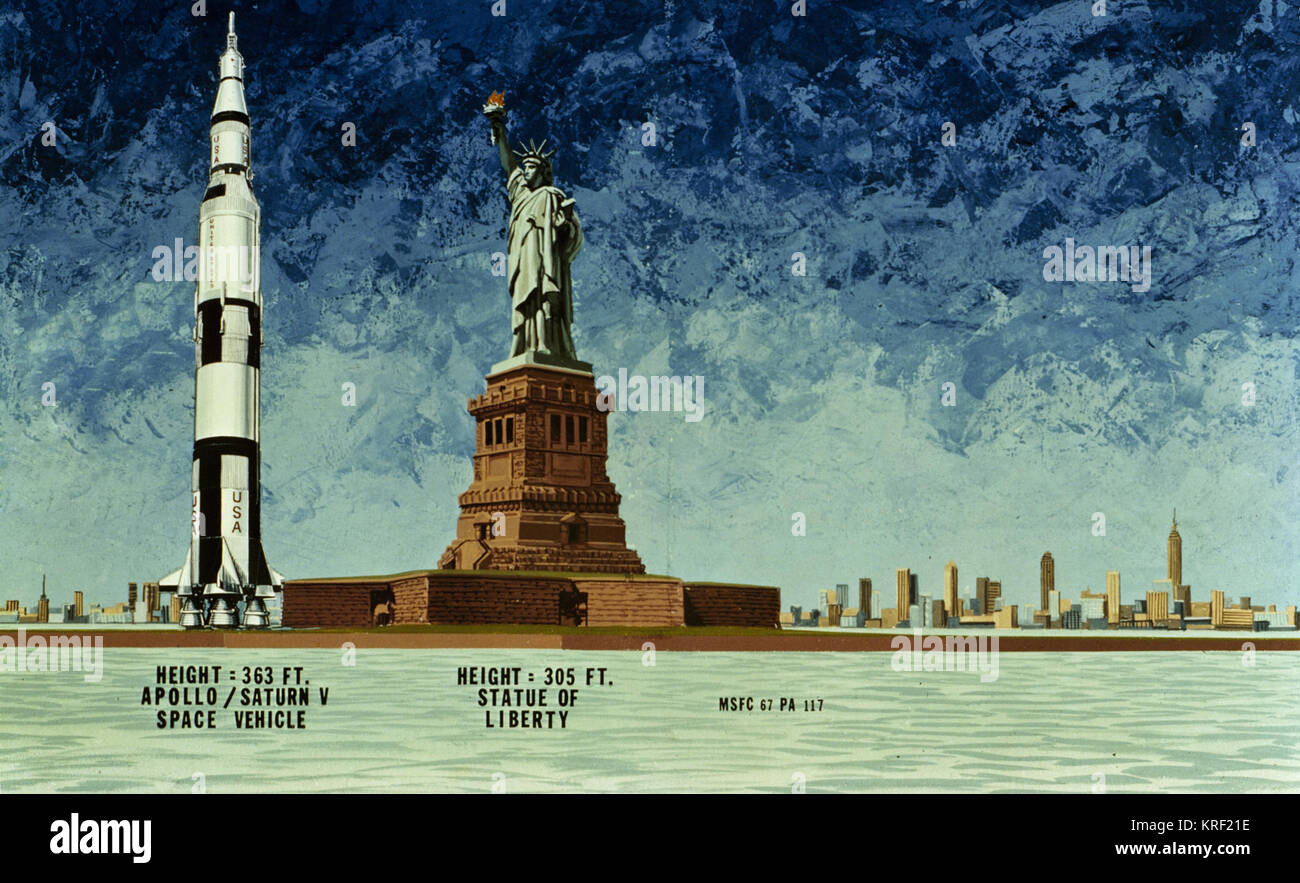 HEIGHT COMPARISON OF THE APOLLO SATURN V SPACE VEHICLE TO THE STATUE OF LIBERTY Saturn v liberty comparison Stock Photo