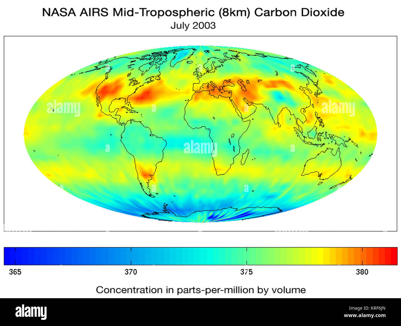 converted PNM file Nasa AIRS CO2 July03 - Stock Image