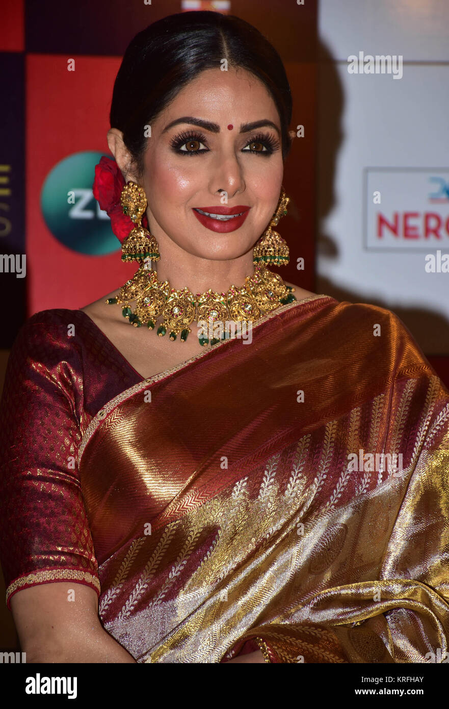 Mumbai, India. 19th Dec, 2017. Indian film actress Sridevi attend the Red carpet event of Zee Cine Awards 2018 at Stock Photo