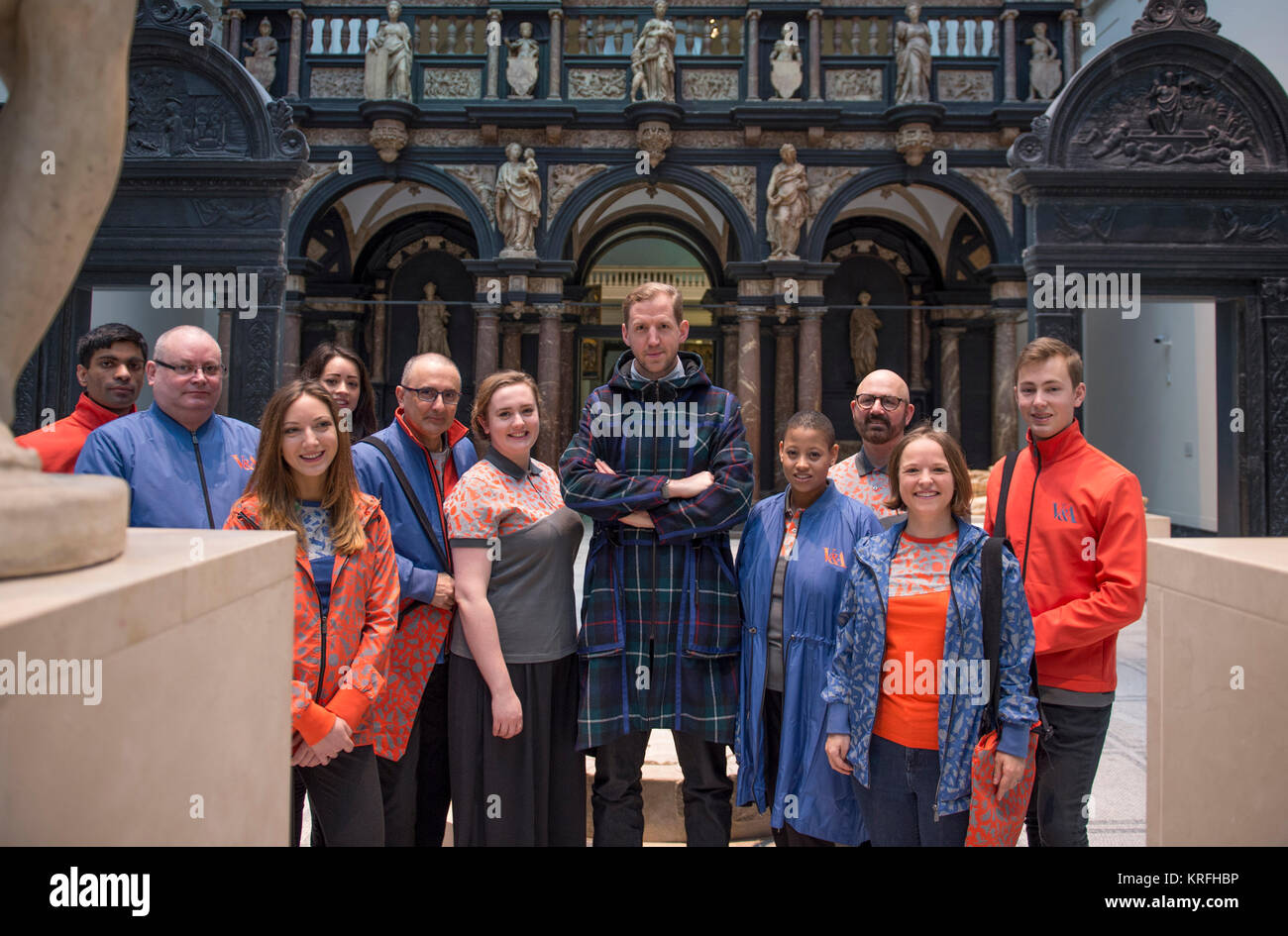 V&A, London, UK. 20 December, 2017. The V&A unveils new staff uniforms by award-winning British fashion - Stock Image