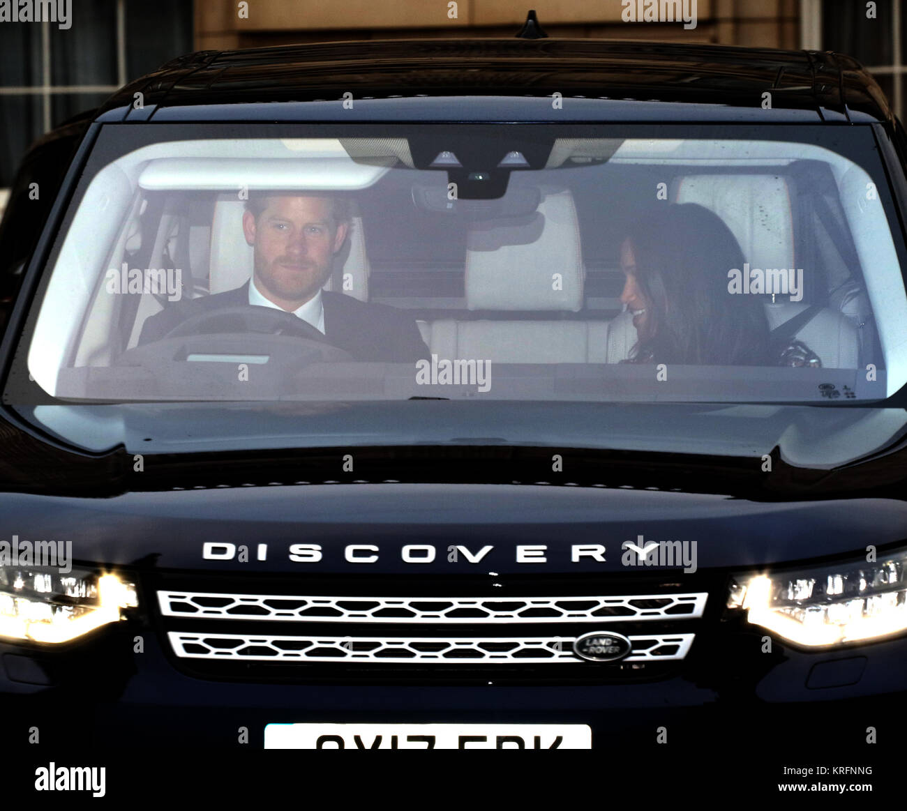 London, UK. 20th Dec, 2017. HRH Prince Harry (of Wales) and Meghan Markle, leave the HM Queen Elizabeth II annual Stock Photo