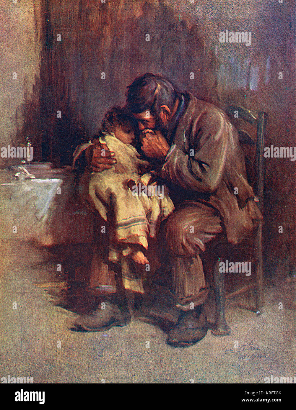 A small, motherless child is comforted by her father.     Date: 1914 - Stock Image