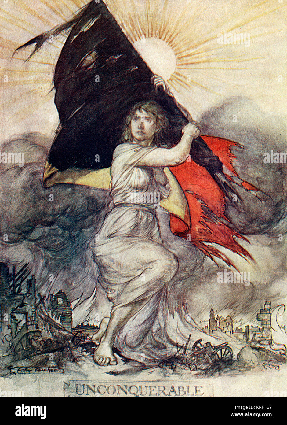 Marianne, symbol of France, defiant holds the tattered French flag aloft amid the carnage of a landscape battered - Stock Image