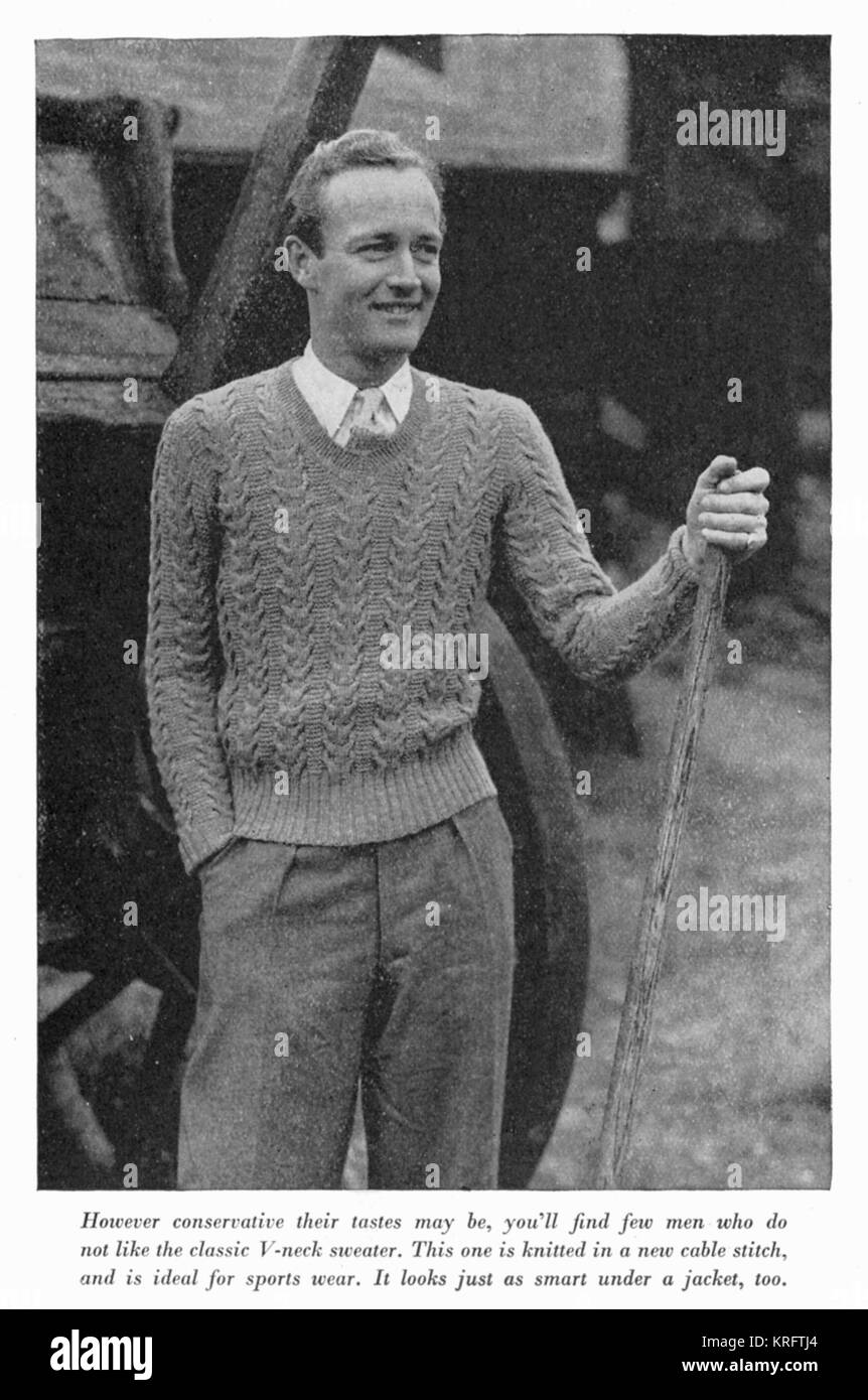 This dapper chap obligingly models a classic V-neck sweater in cable stitch, ideal for sports wear.     Date: c. - Stock Image