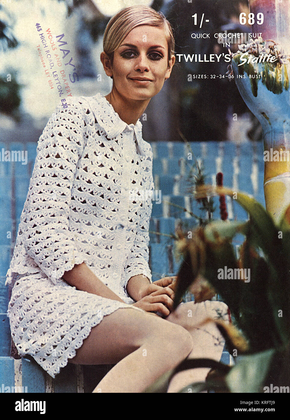 Front cover of a crochet pattern for a 'quick crochet suit' in Twilley's Stalite wool, worn here by - Stock Image