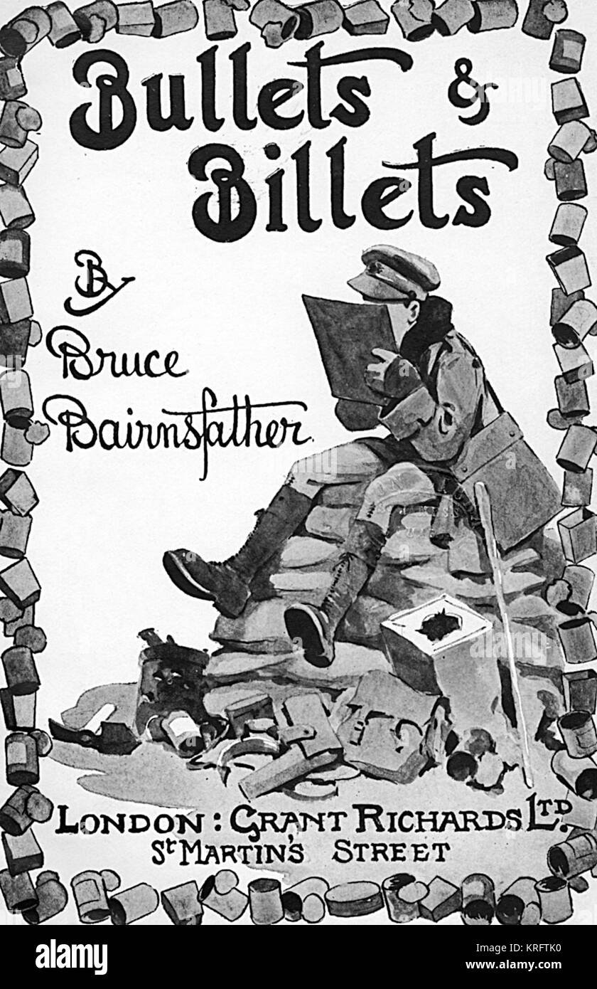Frontispiece of Bullet and Billets, an autobiographical work by the wartime Bystander cartoonist and creator of - Stock Image