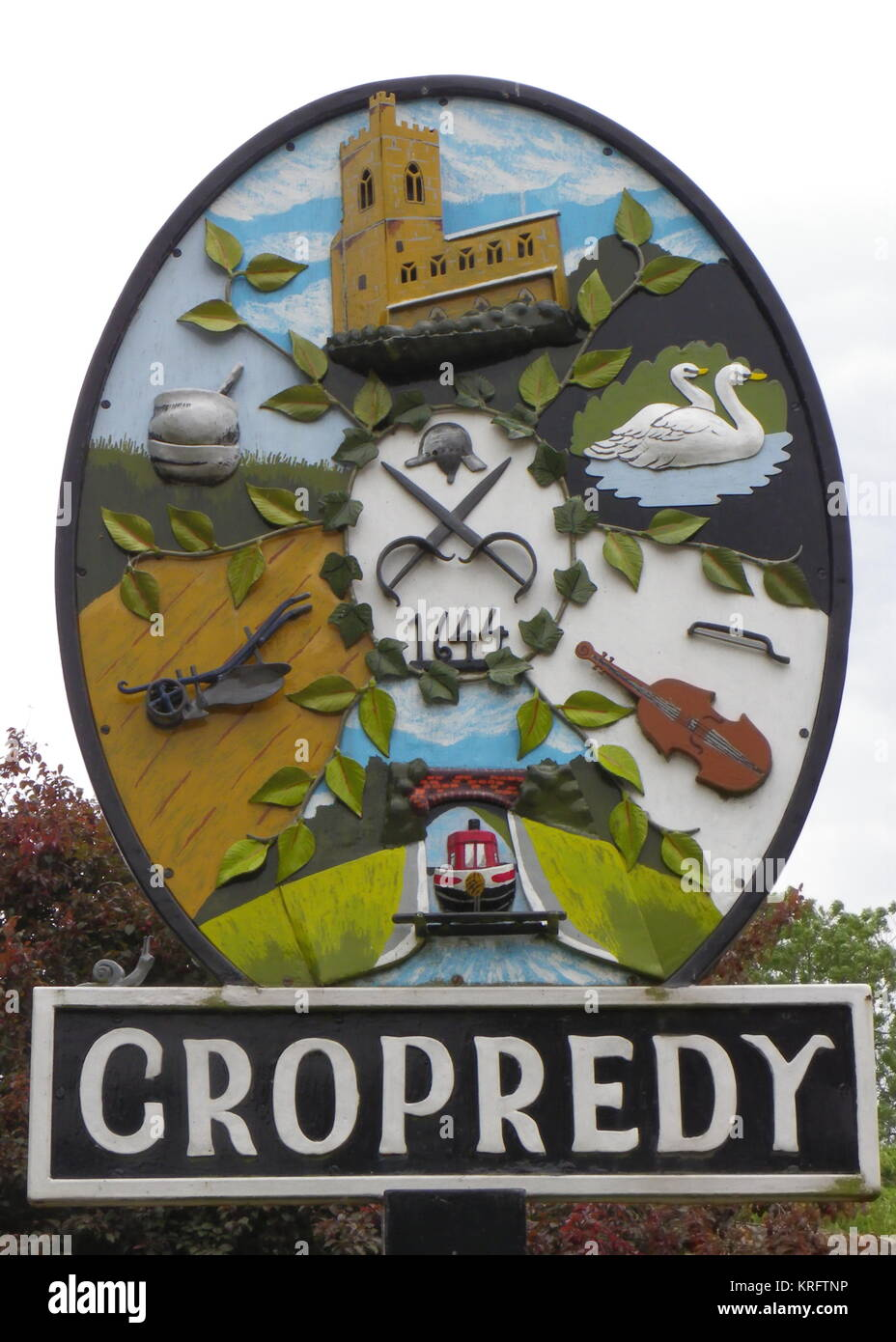 The village sign of Cropredy, near Banbury, Oxfordshire.      Date: circa 2011 - Stock Image