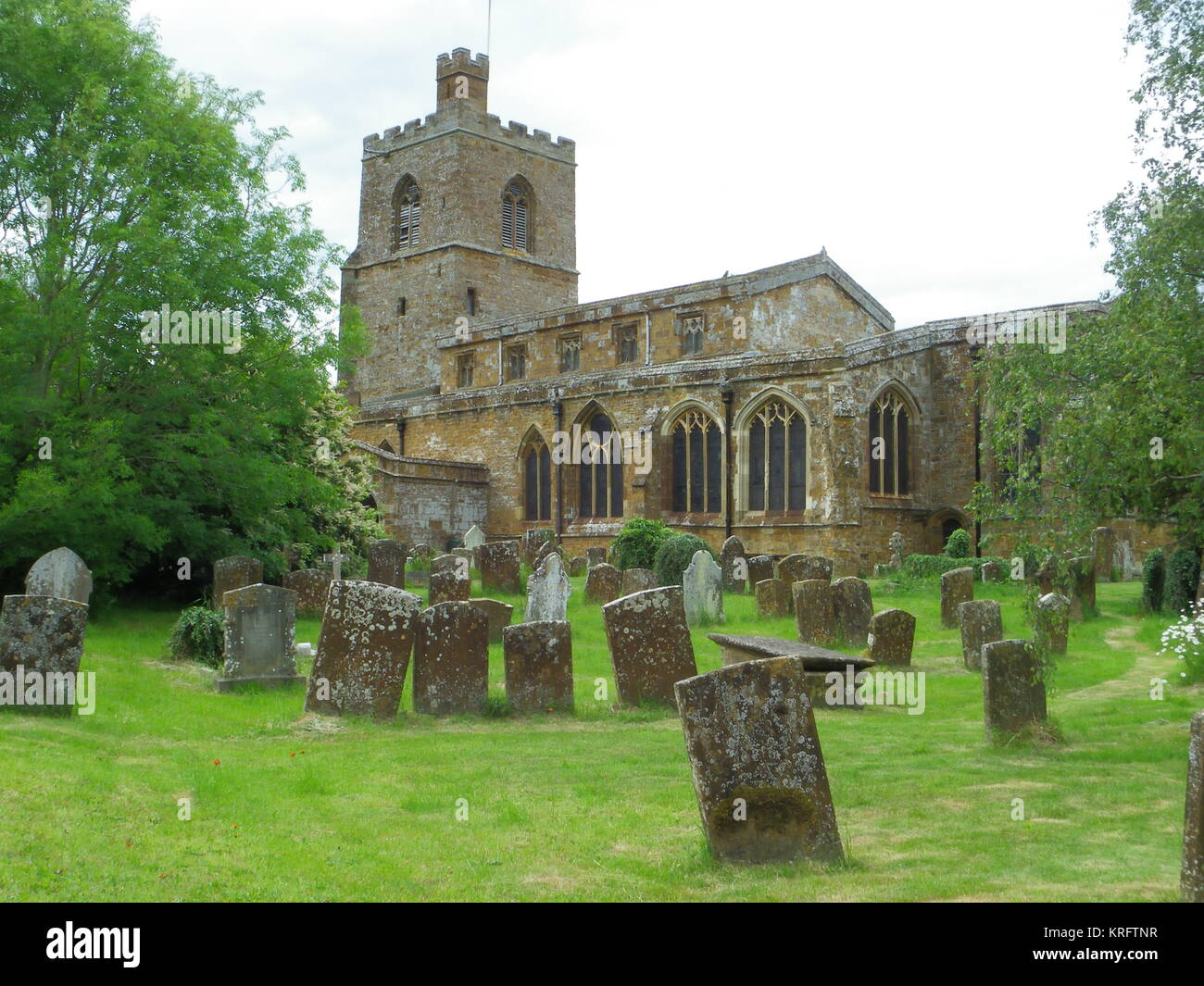 St Mary the Virgin parish church in the village of Cropredy, near Banbury, Oxfordshire.  The church dates back to - Stock Image