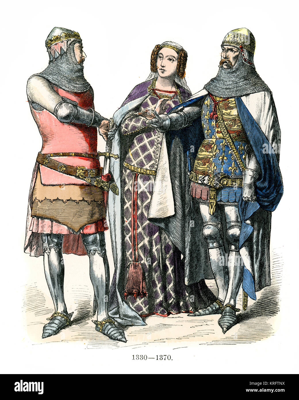 Vintage engraving of English Knights and lady of the 14th Century - Stock Image