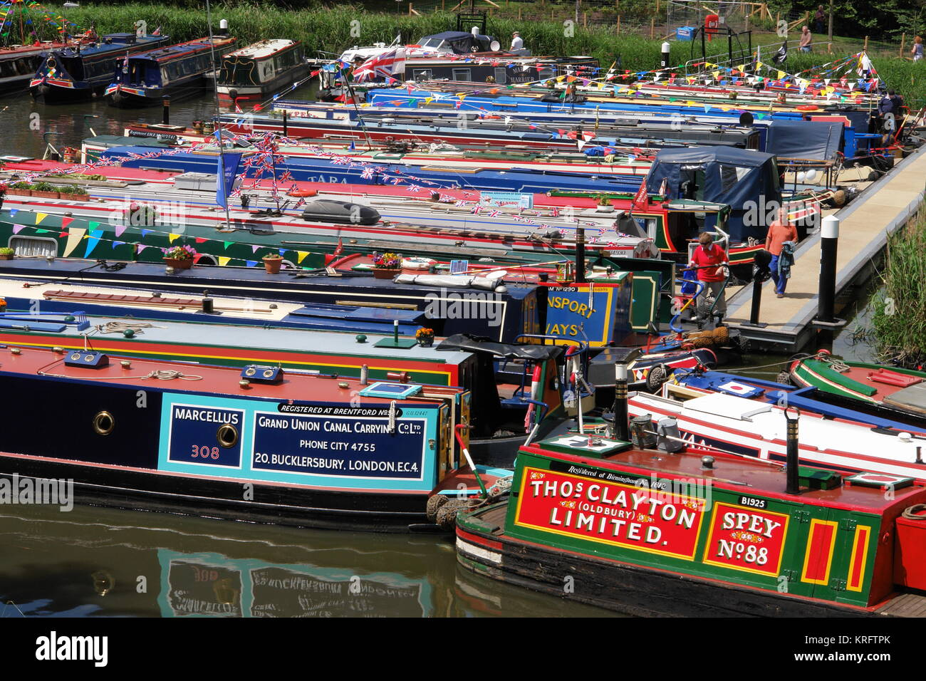 Boats gathered on the Droitwich Barge Canal, Droitwich, Worcestershire, to take part in a ceremony on 1 July 2011, - Stock Image
