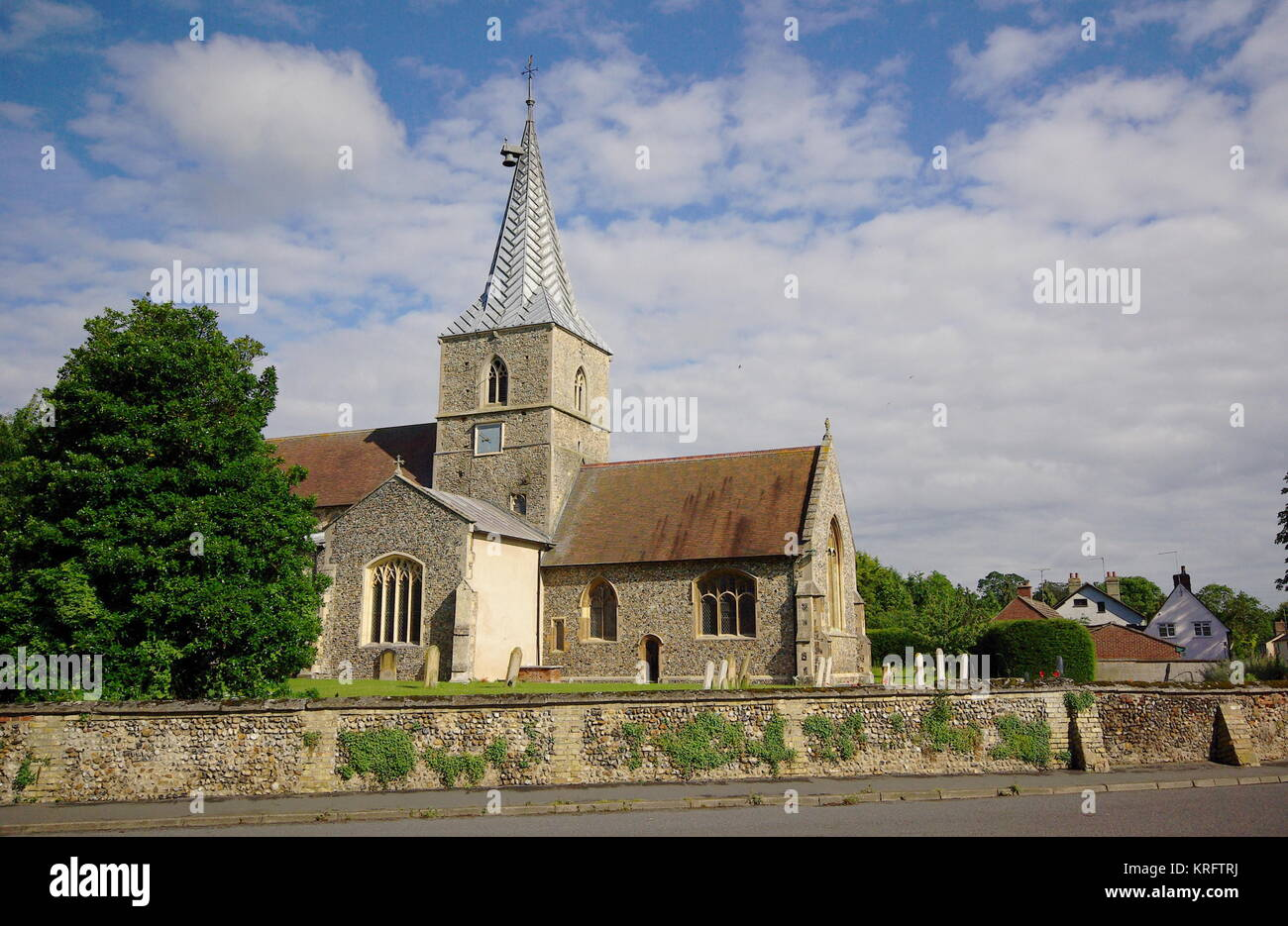 St Mary Magdalene parish church, Ickleton, Cambridgeshire, dating back to the 11th or early 12th century.  Near Stock Photo