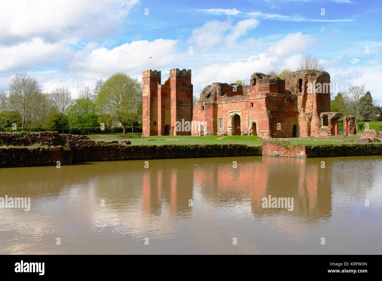 View of Kirby Muxloe Castle, Leicestershire, an unfinished 15th century fortified manor house.      Date: circa - Stock Image