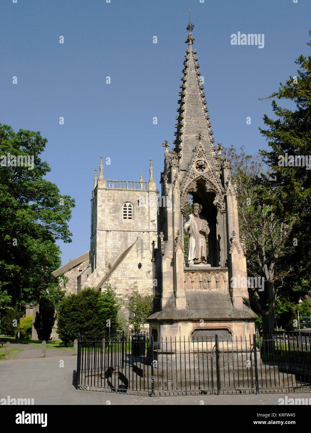 Bishop Hooper Monument in front of St Mary's Church, St Mary's Square, Gloucester. John Hooper, or Johan - Stock Image