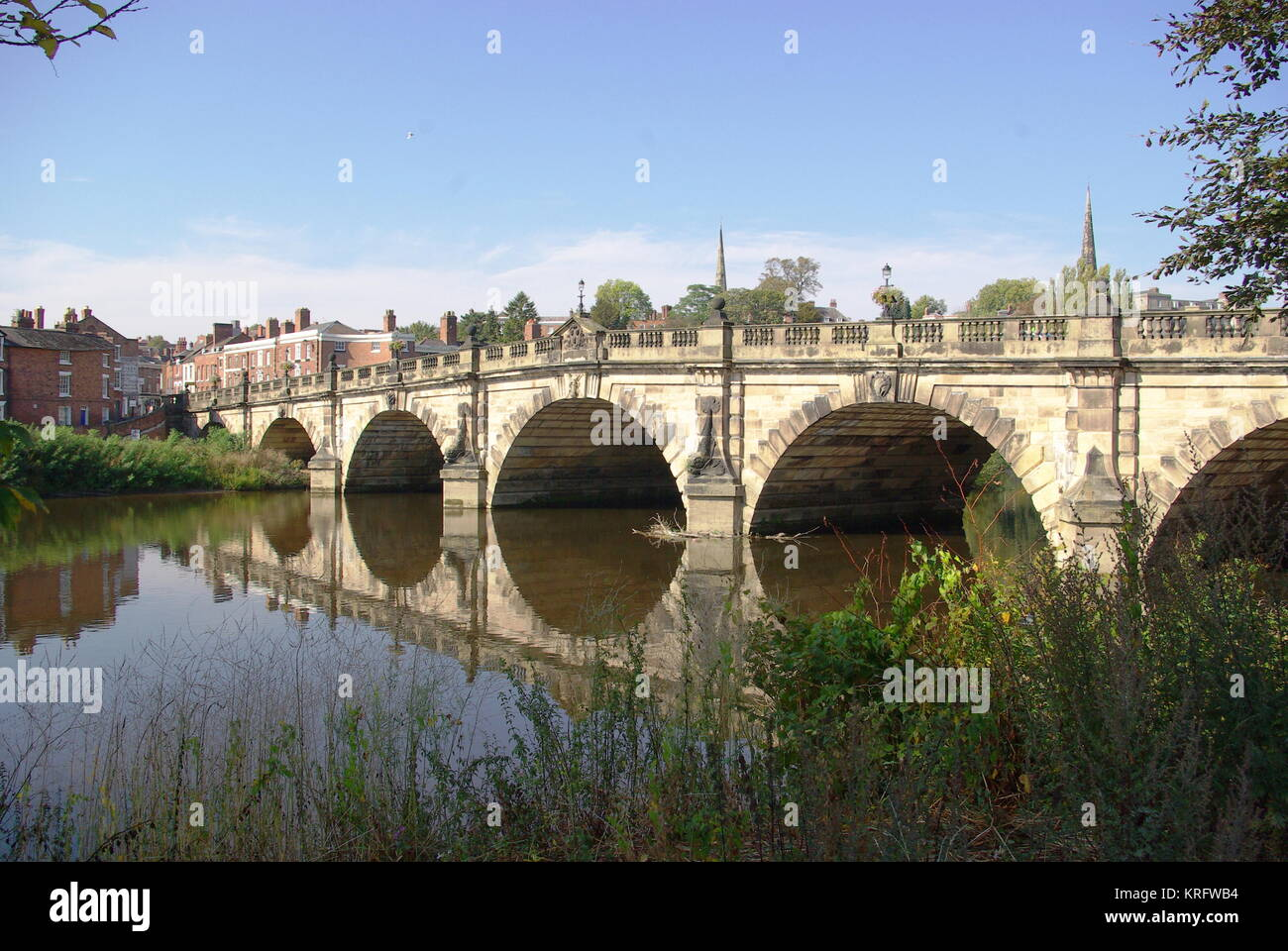 The English Bridge over the River Severn at Shrewsbury, Shropshire.     Date: 2011 - Stock Image