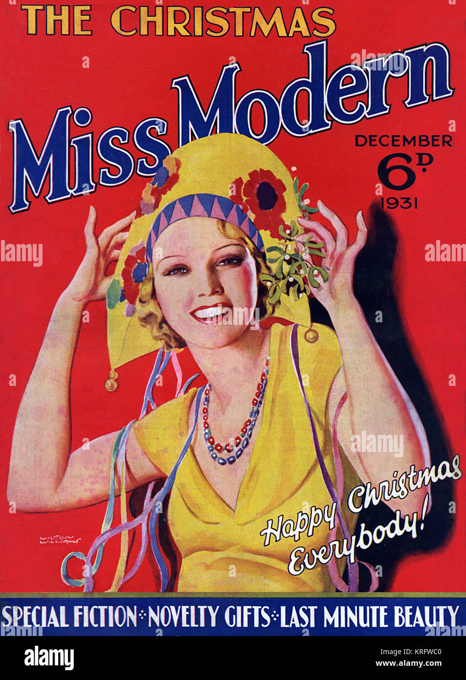 Front cover of the Christmas number of Miss Modern magazine featuring a young woman in a brightly coloured paper - Stock Image