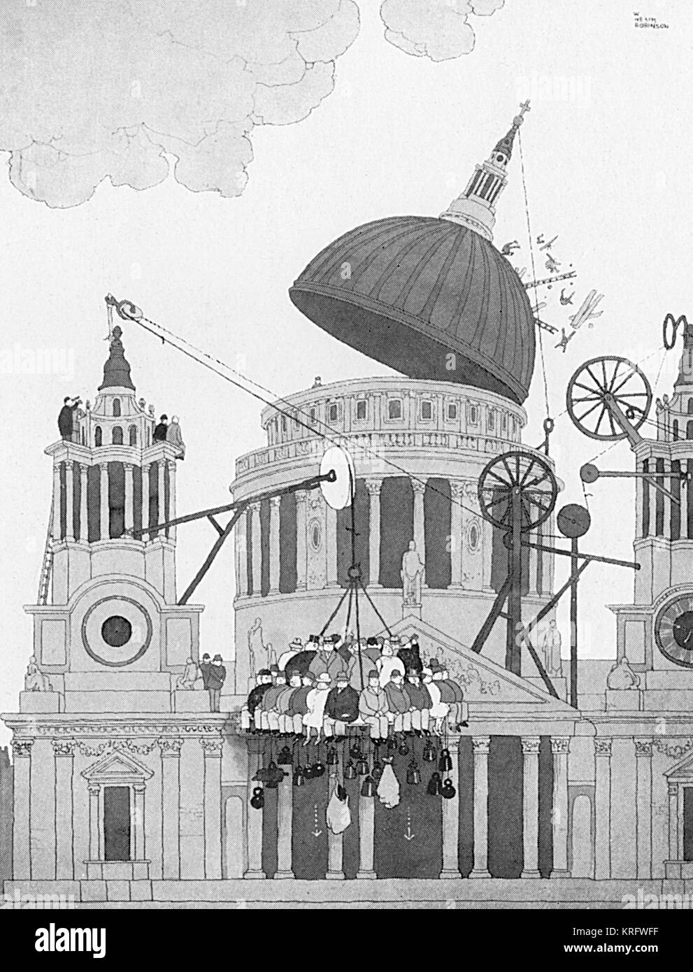 Defence during WW2 -- Stout members of the sixth column dislodge an enemy machine gun post on the dome of St Paul's, - Stock Image