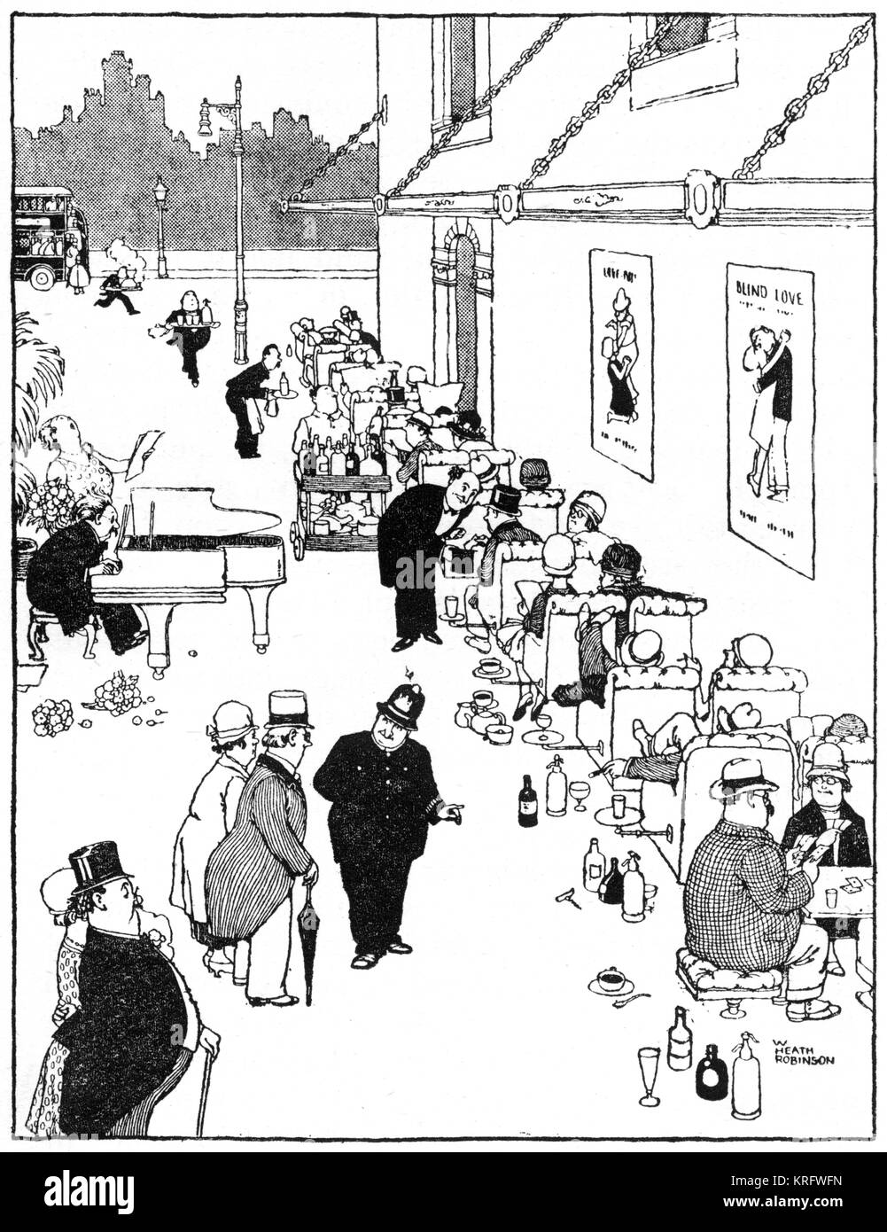 Queue de Luxe (Luxury Queue), with upper class people waiting for a bus, illustration by William Heath Robinson. - Stock Image