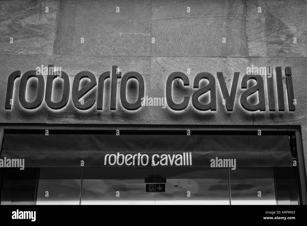 Milan - October 9, 2016:  Roberto Cavalli store in Milan Stock Photo