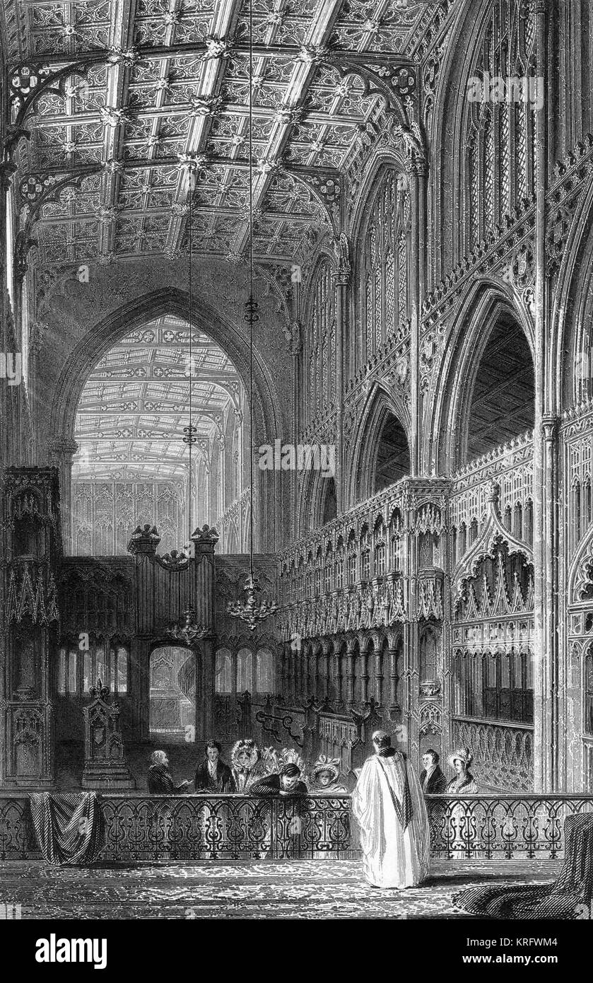 Interior, Collegiate Church of St Mary, St Denys and St George (now the Cathedral), Manchester, dating back to the - Stock Image