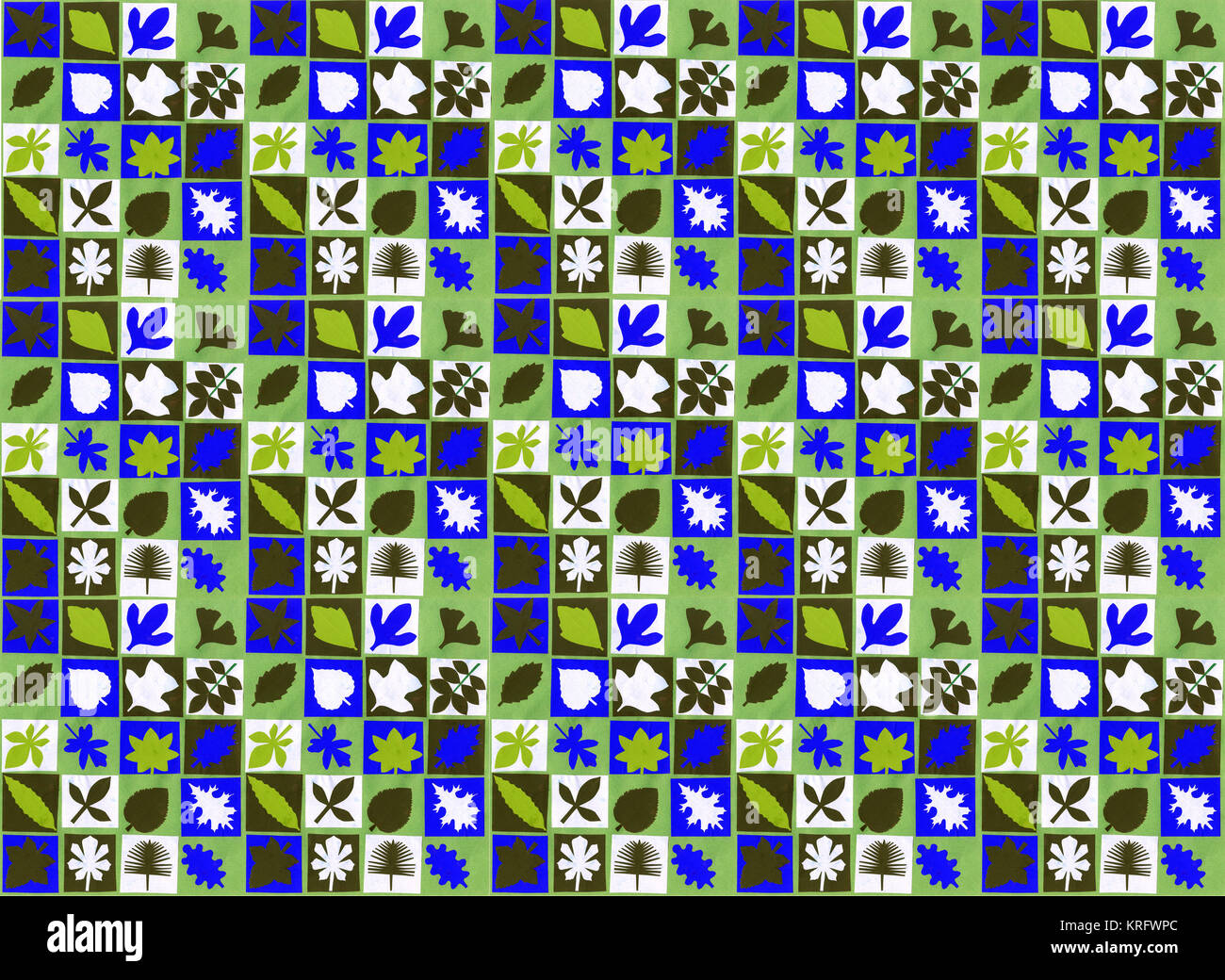 Wrapping paper or wallpaper design -- squares with leaf shapes, in black, white, blue and green.      Date: 2015 - Stock Image