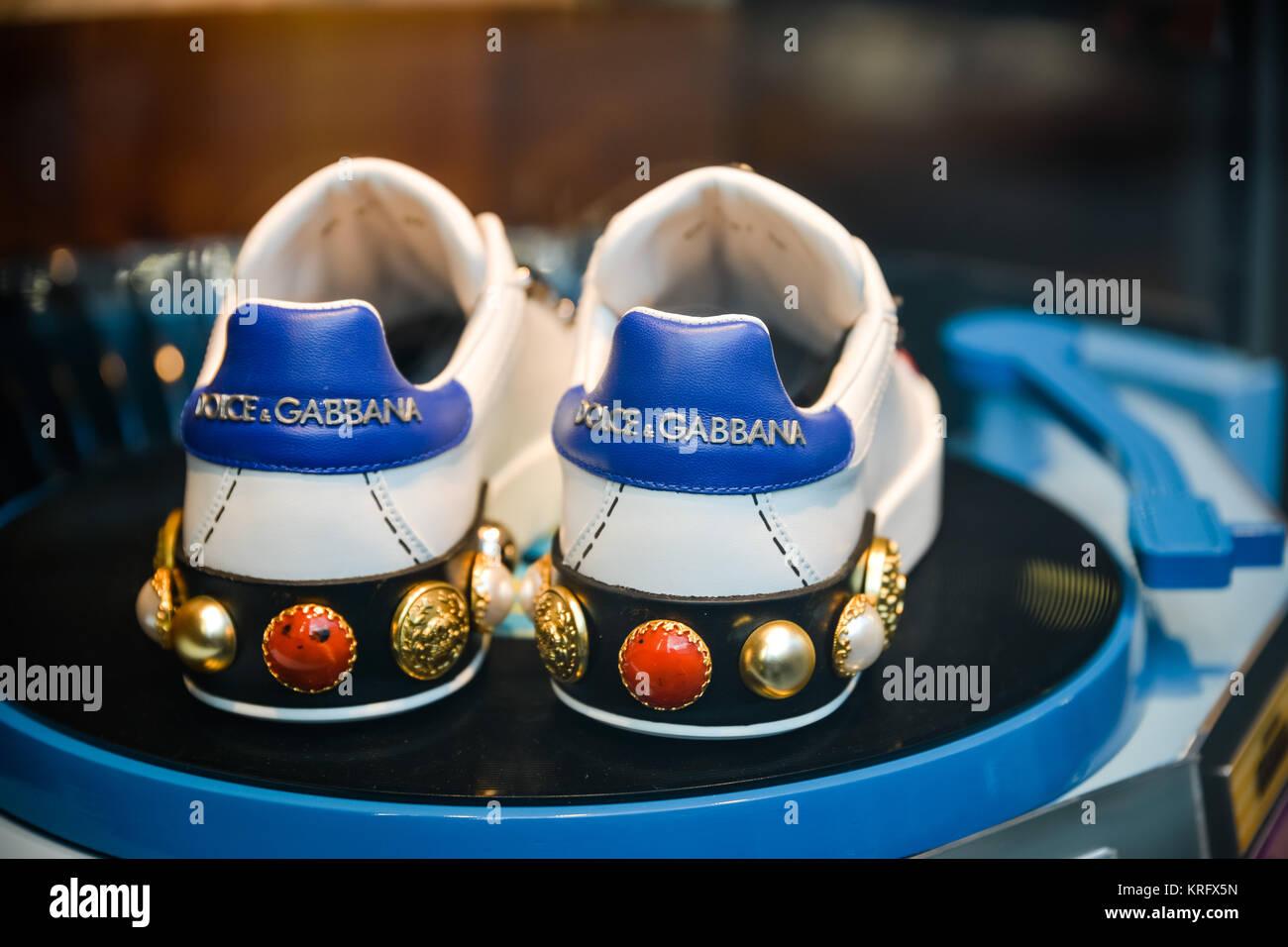 Milan, Italy - September 24, 2017:  Dolce Gabbana shoe in a DNG shop in Milan. - Stock Image