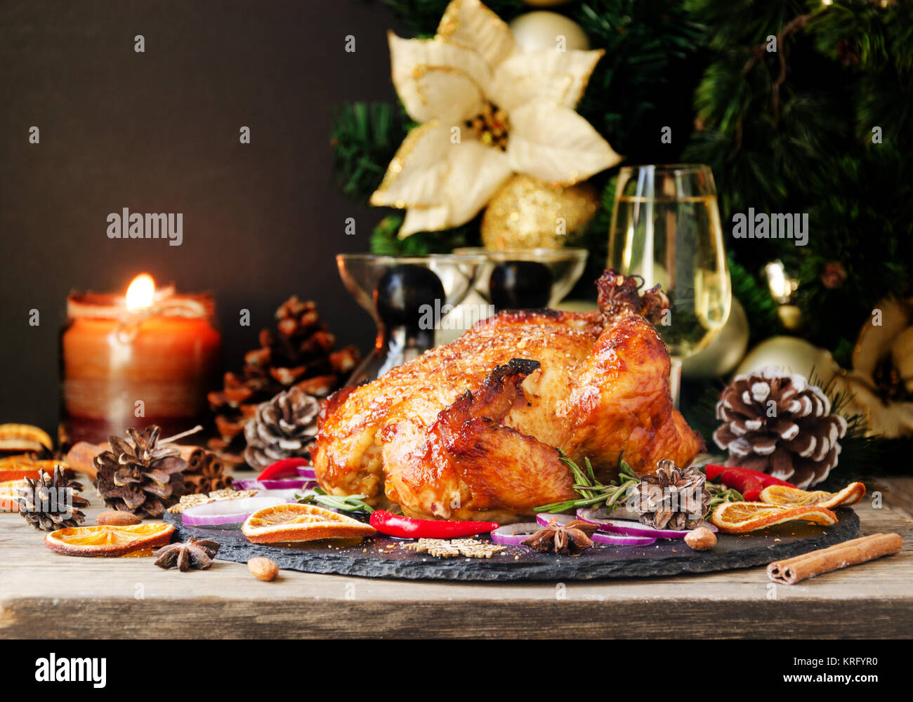 Roast Chicken Or Turkey For Christmas And New Year