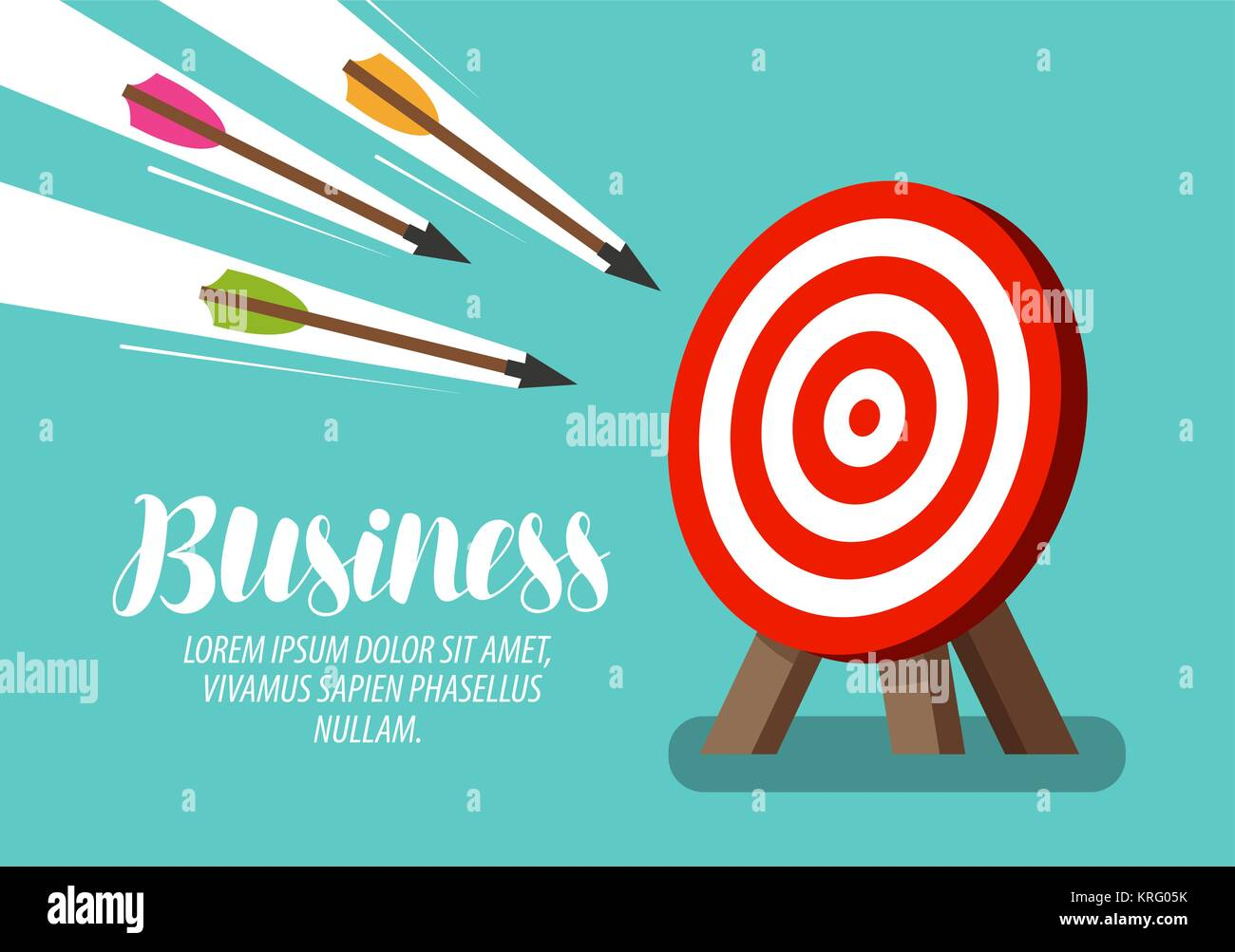 Target and flying arrows. Business concept. Vector illustration - Stock Image