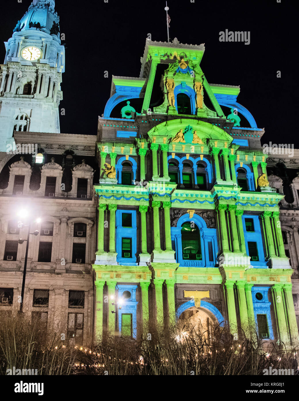 Deck the Hall Light Show at City Hall Holiday Lights in Philadelphia  Pennsylvania USA & Deck the Hall Light Show at City Hall Holiday Lights in ...