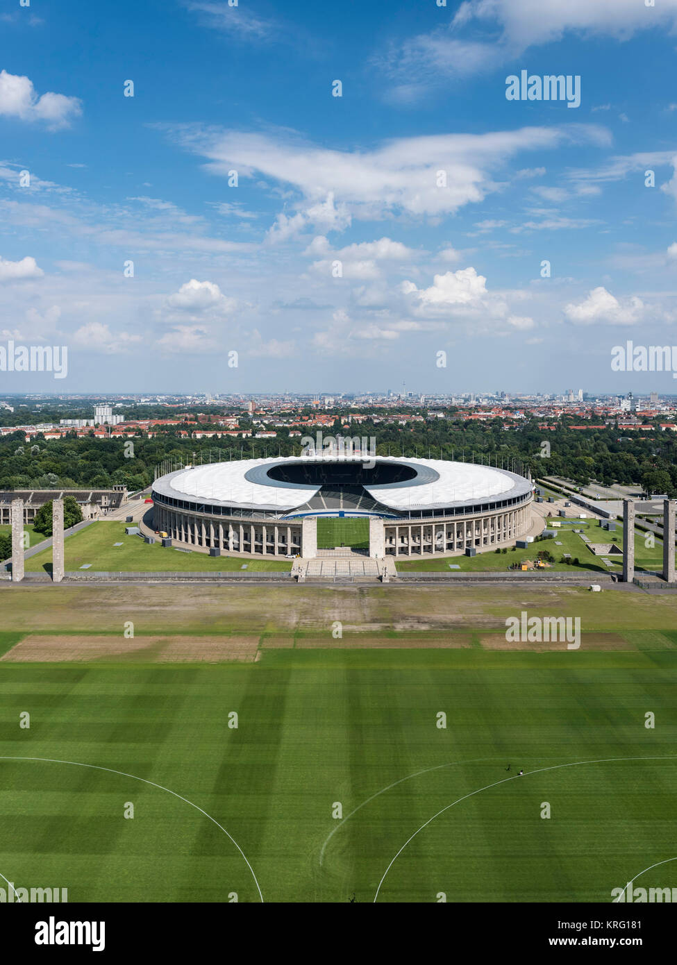 Berlin. Germany. Olympic Stadium (Olympiastadion), originally designed by Werner March (1894-1976) for the 1936 - Stock Image
