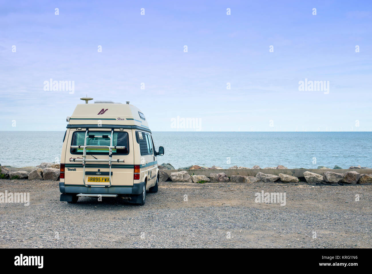 Ford Flair Auto Sleeper camper van looking out to sea UK - Stock Image