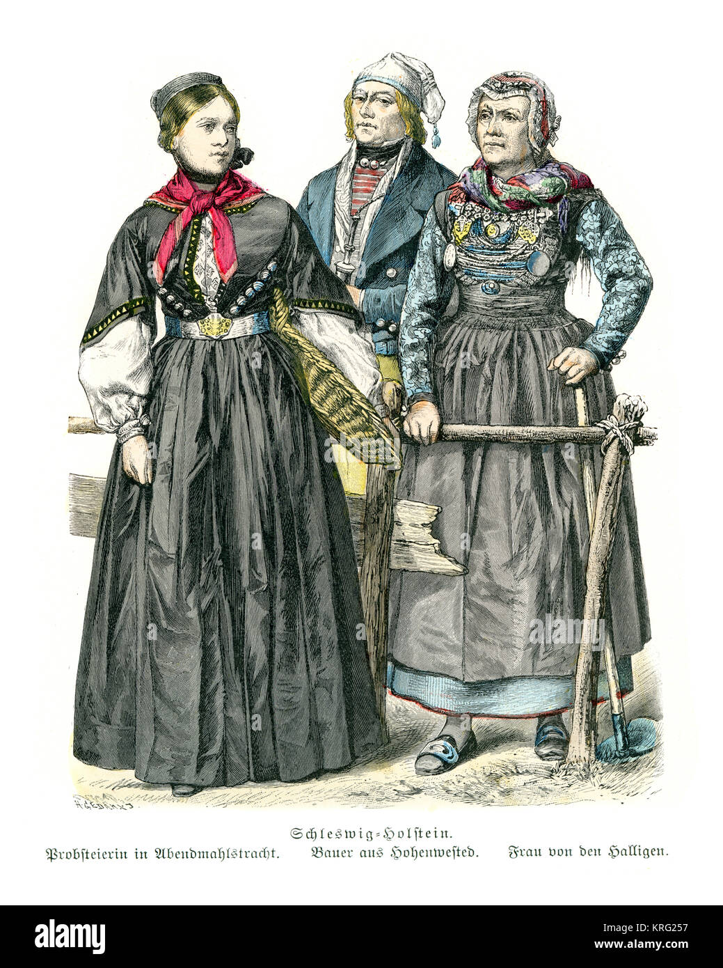 Vintage engraving of Traditional of Germany. Silesia Holstein,19th Century - Stock Image