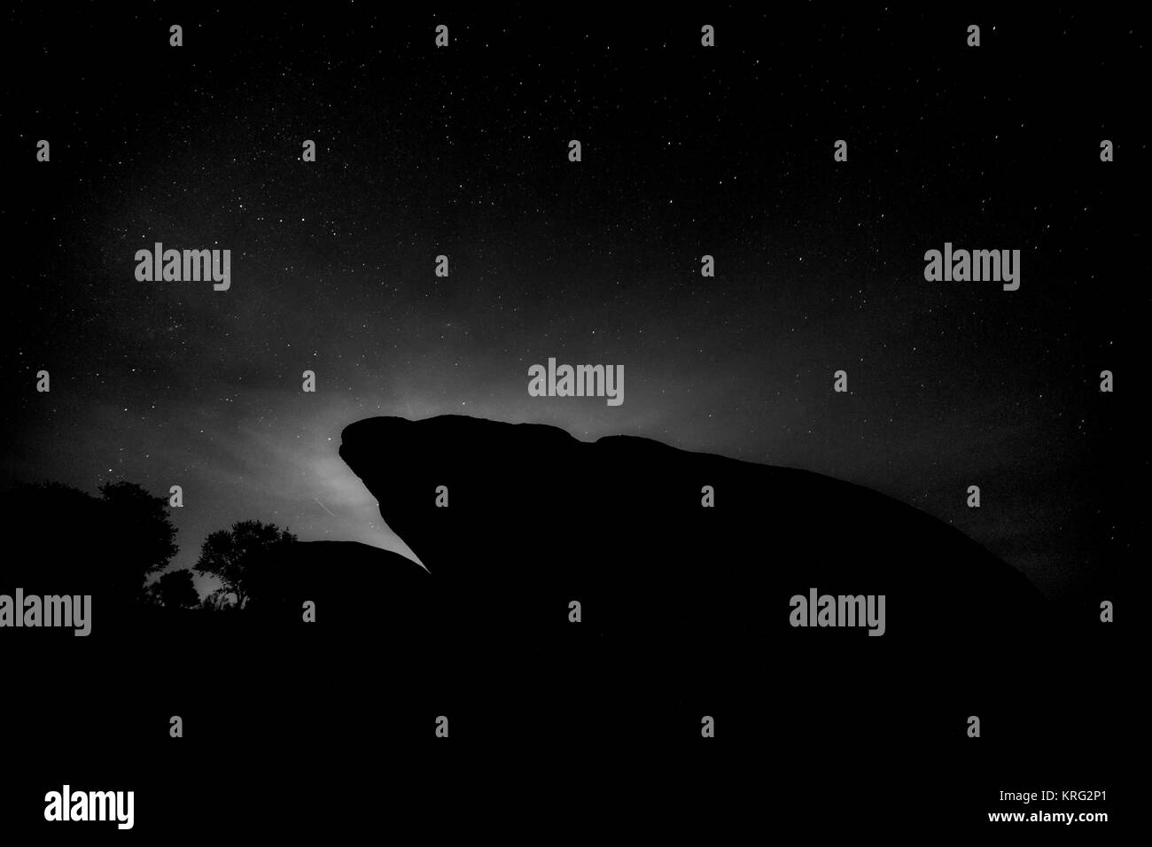 Night photography in the Natural Area of Barruecos. Extremadura. Spain. - Stock Image