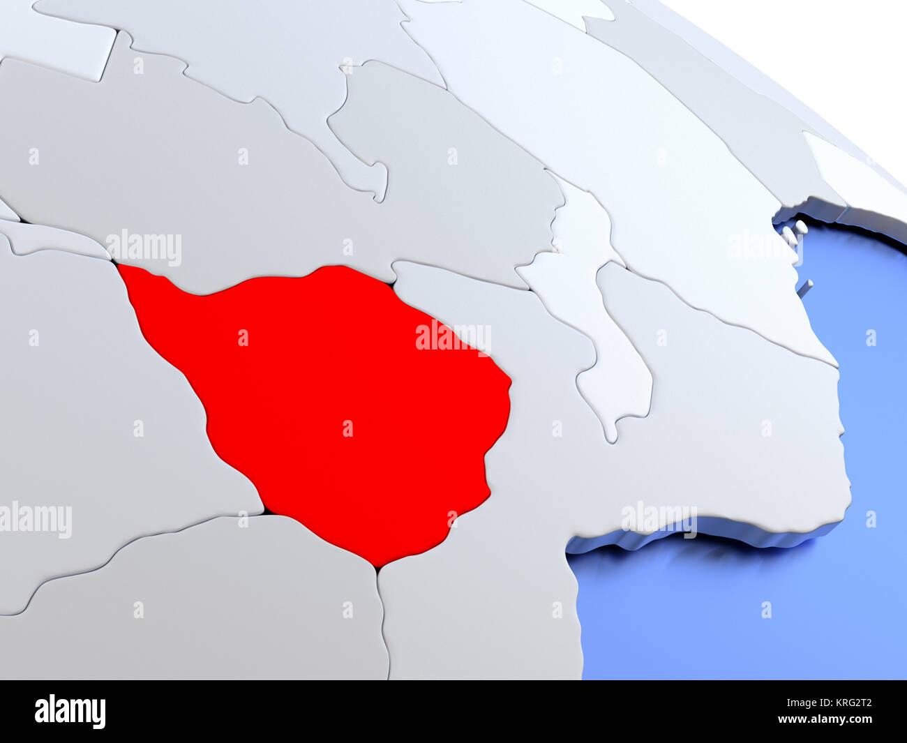 Zimbabwe On World Map Stock Photo 169383874 Alamy